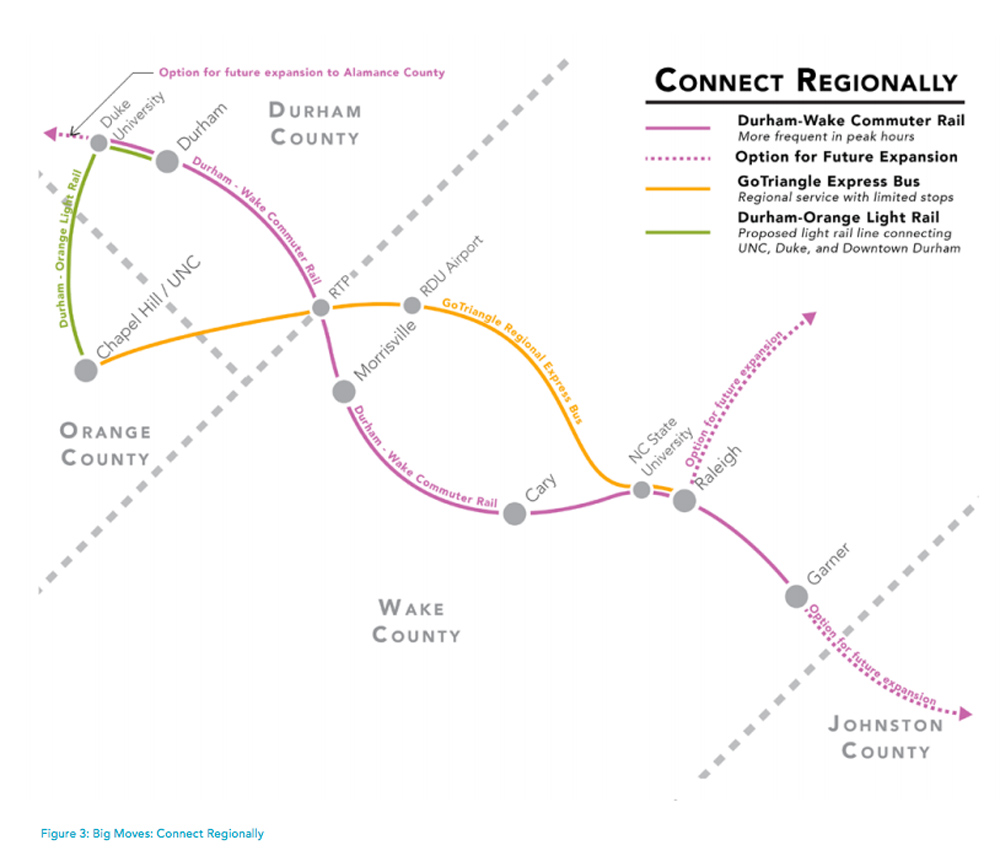 A diagram of proposed transit connections for the Triangle shows commuter rail, light rail, and express bus lines. (Image from WakeTransit.com website)