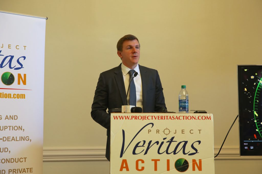 James O'Keefe, founder of Project Veritas Action, at a Wednesday press conference released videotaped remarks of political theorist Benjamin Barber recorded at a Sept. 19 New York City fundraiser for Democratic U.S. Senate candidate Deborah Ross. (CJ Photo by Don Carrington)