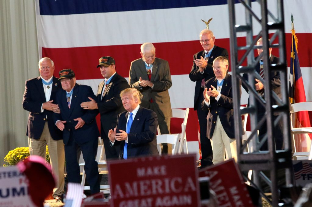 Donald Trump pays tribute to several Congressional Medal of Honor recipients November 2016 in Selma.