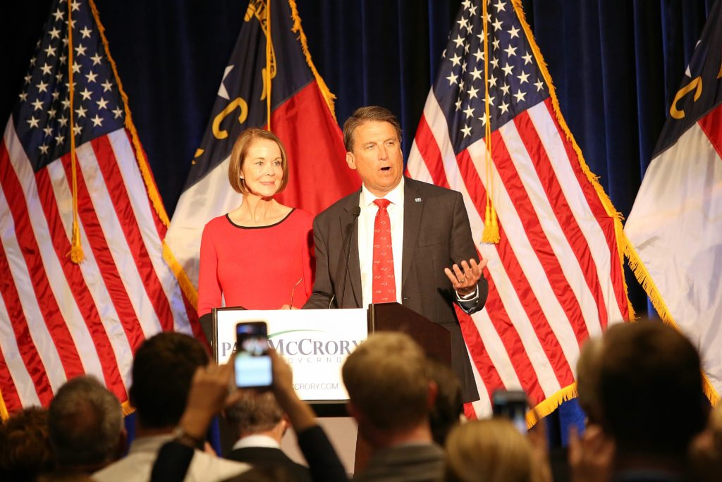 Gov. Pat McCrory, with his wife Ann by his side, tells supporters early Wednesday morning that the governor's race against Democrat Roy Cooper would not be decided until all ballots were canvassed. (CJ photo by Don Carrington)