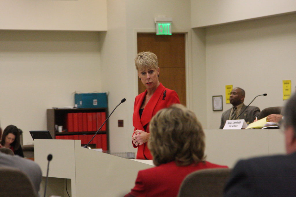 State Auditor Beth Wood, testifying in April about her office's findings of Medicaid fraud. (CJ photo by Dan Way)