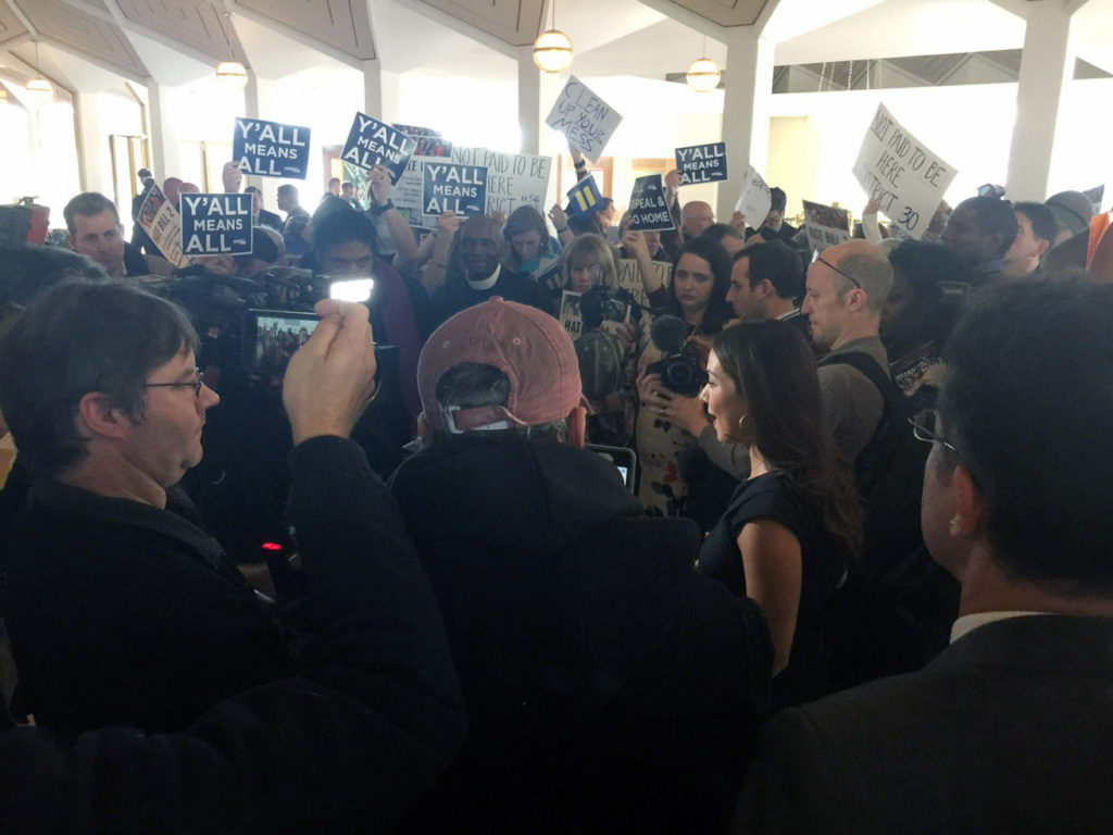 Protesters gathered outside the legislative chambers during a December 2016 special session on House Bill 2. (CJ photo by Dan Way)