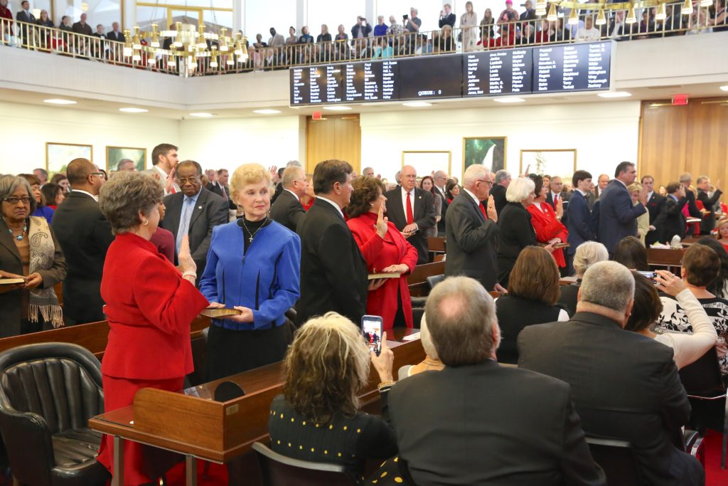 Members of the state House of Representatives jointly take the oath of office in January as the 2017 General Assembly session opened. (CJ photo by Don Carrington)