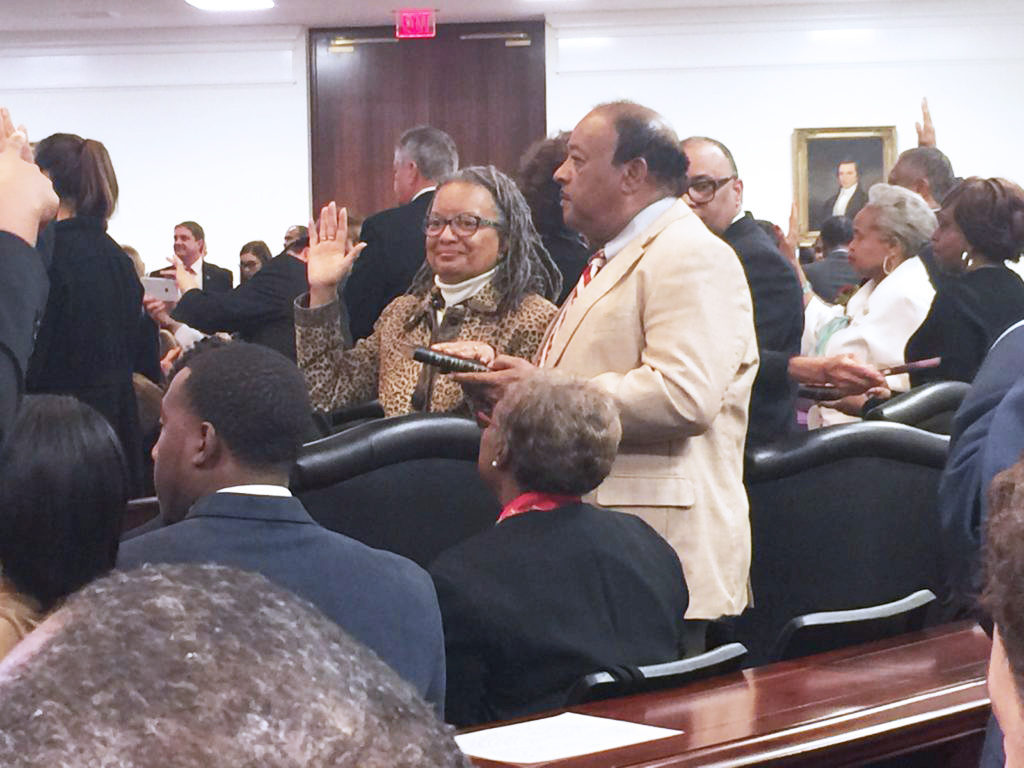 Sen. Angela Bryant, D-Nash, takes the oath of office at the opening of the 2017 legislative long session. (CJ photo by Dan Way)