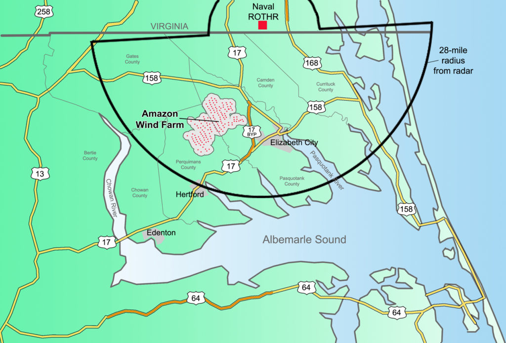 This CJ illustration shows how the footprint of the Amazon Wind Farm could interfere with the ROTHR surveillance project.