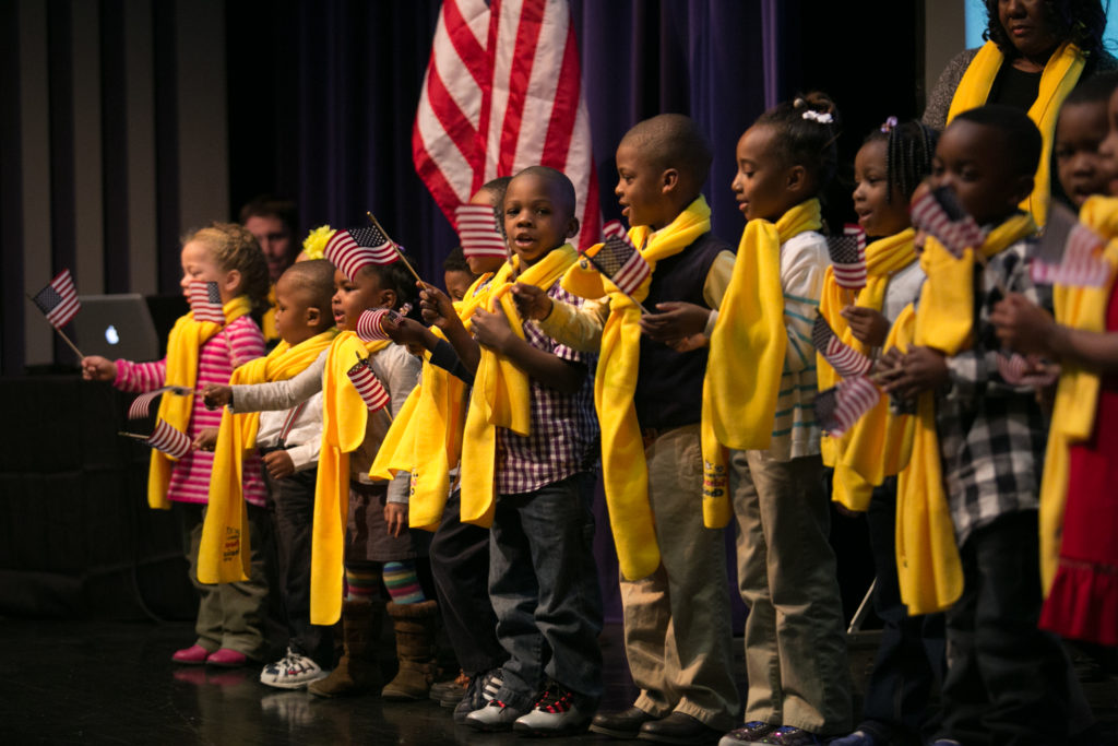 Students wearing commemorative scarves celebrate National School Choice Week. (Image courtesy of National School Choice Week website)