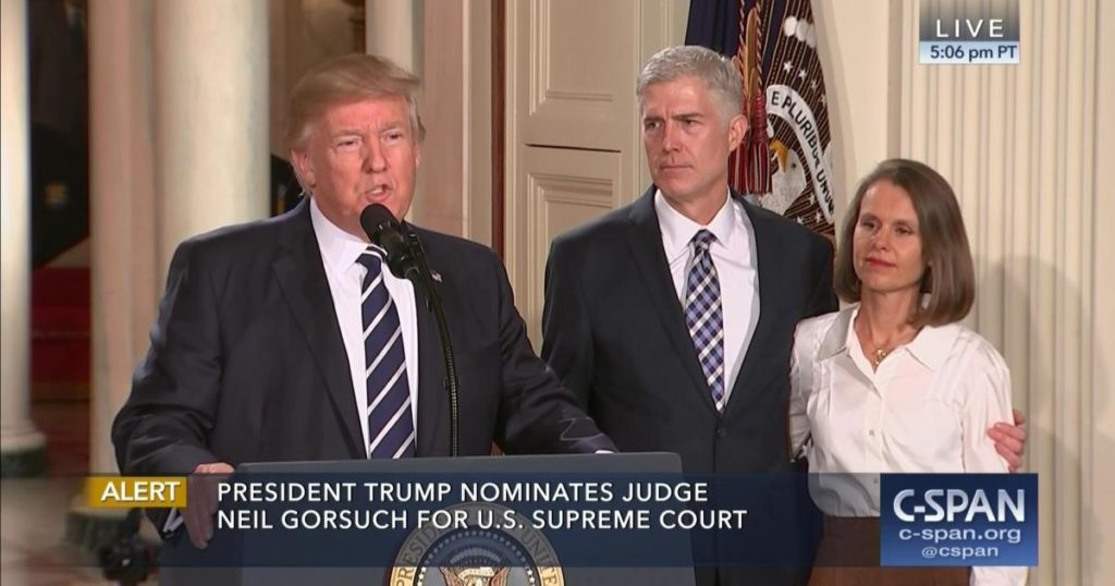 President Donald Trump introduces U.S. Circuit Court Judge Neil Gorsuch, accompanied by his wife Louise, Tuesday at the White House. (Image from C-Span)