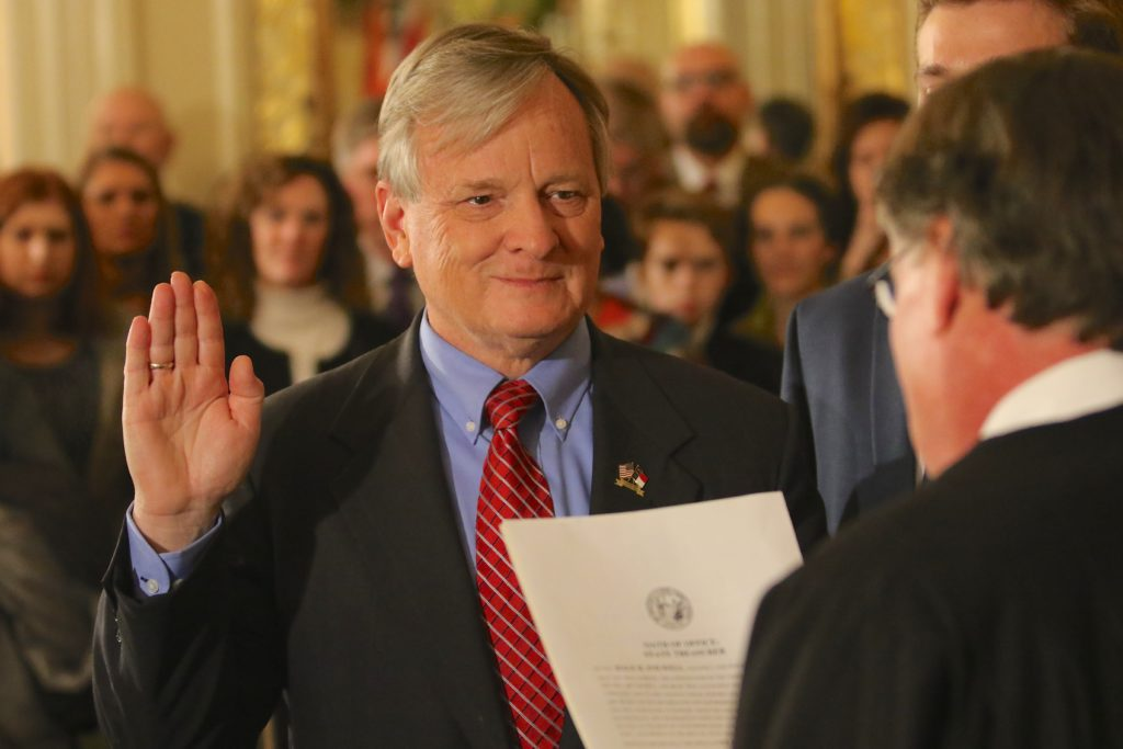 State Treasurer Dale Folwell, shown here at a January swearing-in ceremony at the Executive Mansion. (CJ file photo)