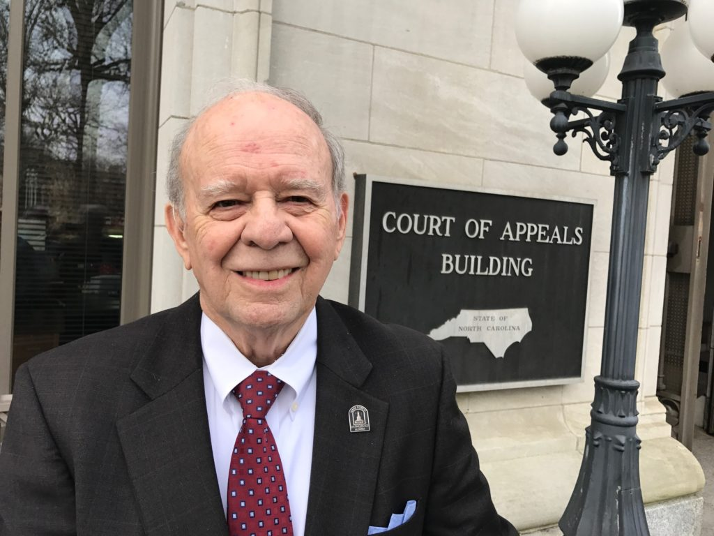 Raleigh attorney Gene Boyce, pictured outside the N.C. Court of Appeals building, has tangled with Roy Cooper in court since 2000. (CJ photo by Don Carrington)