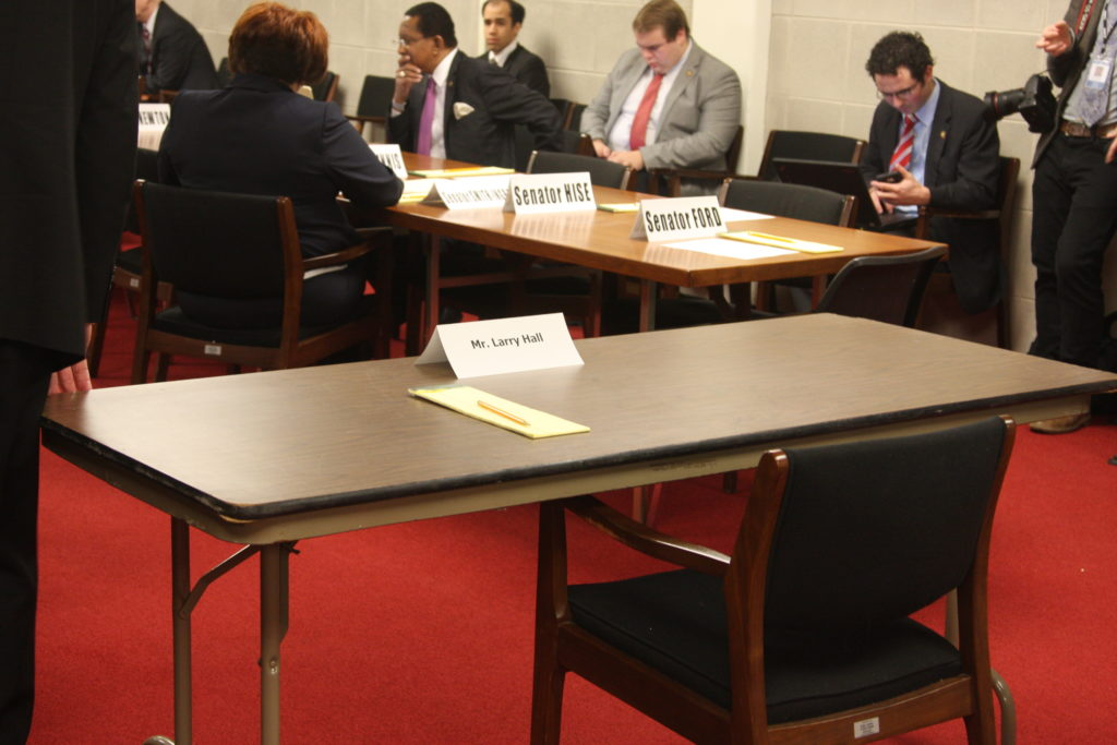 A seat for acting Military and Veterans Affairs Secretary Larry Hall remained empty as the Senate Commerce Committee attempted to hold a hearing Wednesay to confirm Hall. (CJ photo by Dan Way)