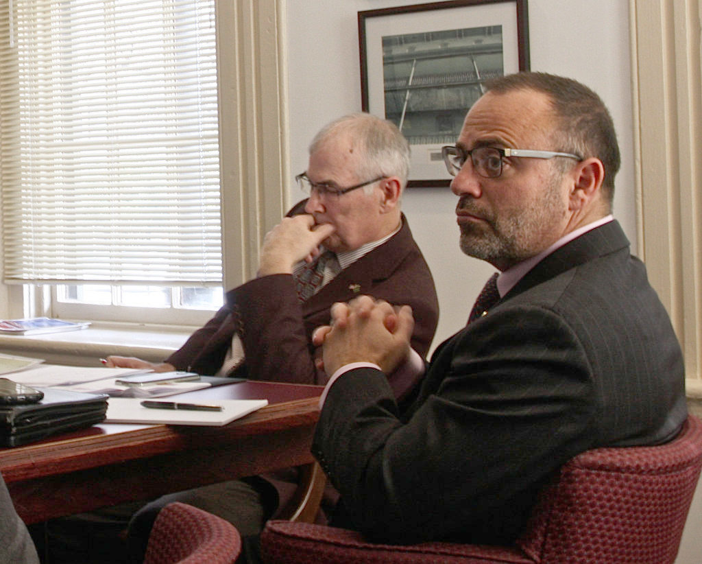 Brig. Gen. Bud Martin, at left, chairman of the N.C. Military Affairs Commission, asked a Carolina Journal reporter not to write about a presentation that was on the agenda at the Feb. 7 meeting of the commission. When the reporter refused, the presentation was removed from the agenda and then restored to it after the reporter and other members of the public left the room. (CJ photo by Dan Way)