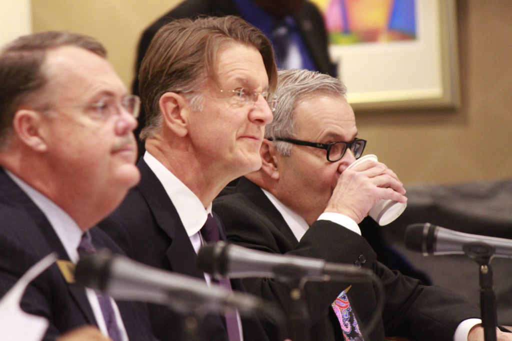 The UNC Board of Governors has 32 members — too many to be efficient, say legislators. Shown here: Board member Thomas Goolsby (center) during a March 2016 board meeting. (CJ Photo by Kari Travis)