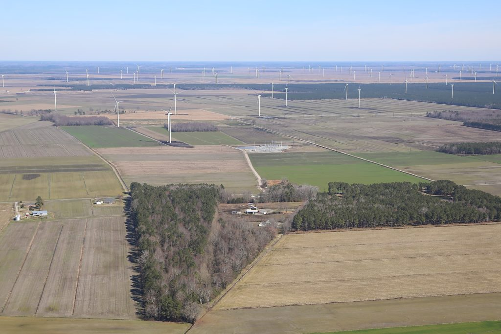 The Amazon Wind Farm, the state's first large-scale commercial wind-generation project, comprises 104 2-megawatt wind turbines, each nearly 500 feet tall and covers 22,000 acres in Pasquotank and Perquimans counties. (CJ photo by Don Carrington)