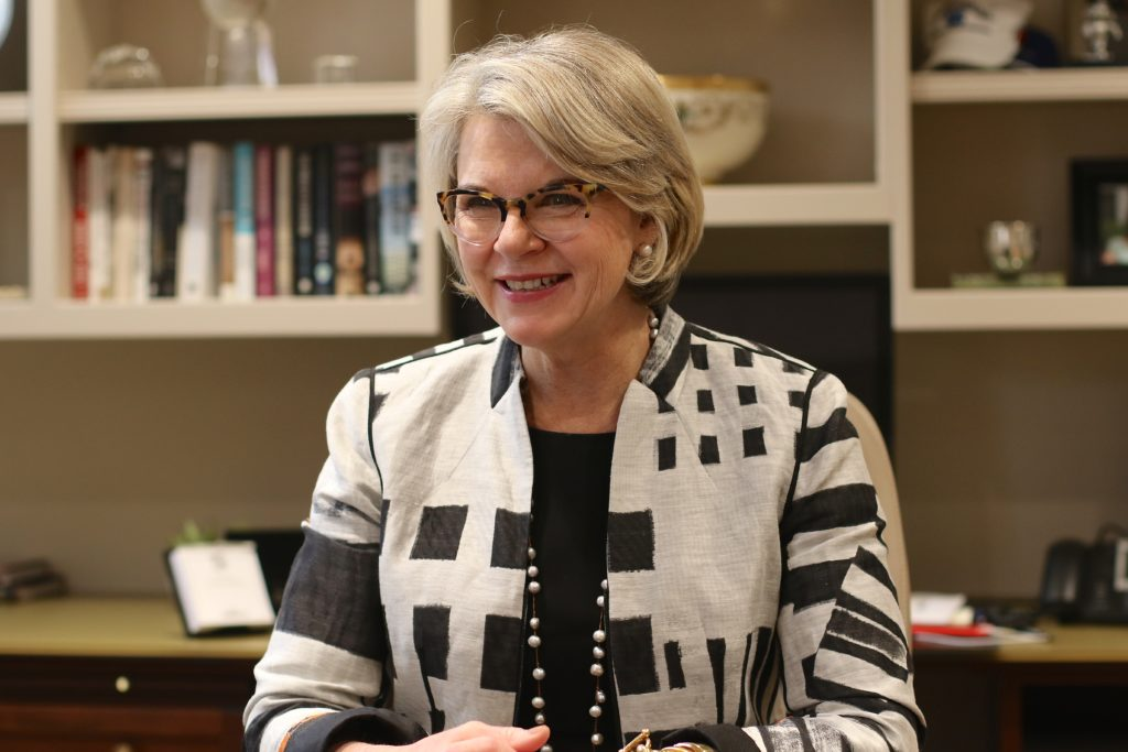 UNC President Margaret Spellings at her offices in Chapel Hill. (CJ Photo by Don Carrington)