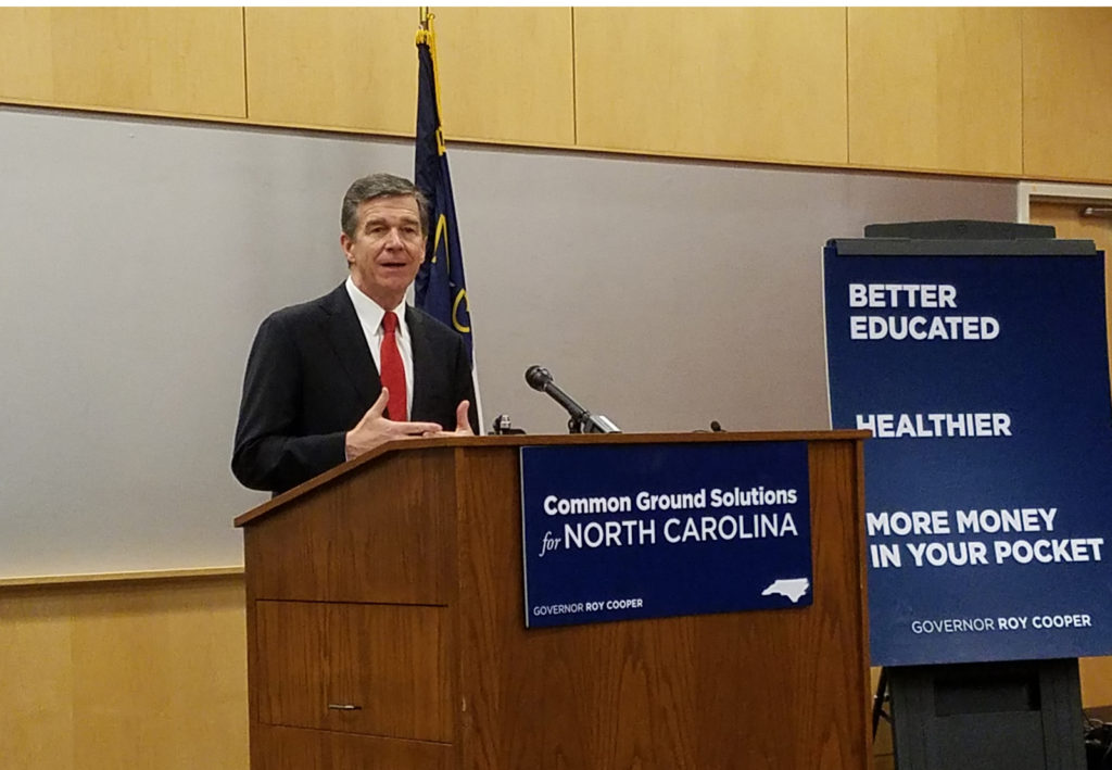 Gov. Roy Cooper, presenting his 2017-18 budget. (CJ photo by Barry Smith)
