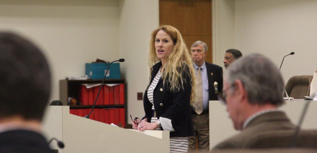 Kendal Bowman, vice president of regulatory affairs and policy at Duke Energy, tells a House energy oversight committee about the 'favorable terms' the state has given renewable energy producers. (CJ photo by Dan Way)