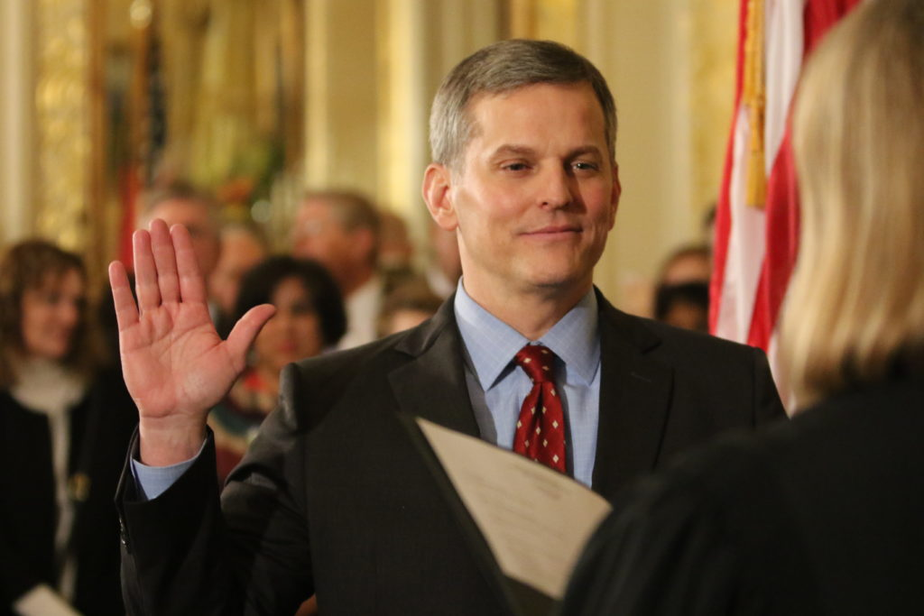 Attorney General Josh Stein, during a January 2017 swearing-in ceremony at the Executive Mansion. (CJ photo by Don Carrington)