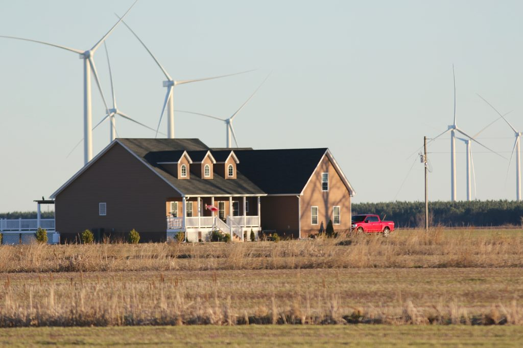 Amazon Wind Farm turbines surround this home on Turnpike Road just west of Elizabeth City in Perquimans County. (CJ photo by Don Carrington)