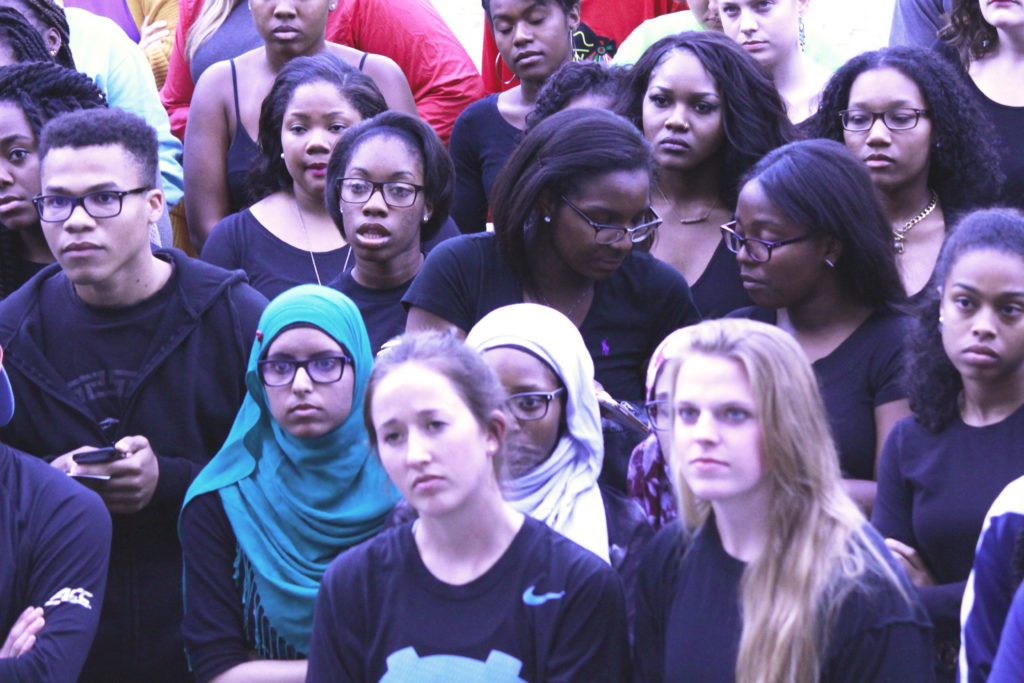 A student protest at UNC Chapel Hill in 2016 disrupted an event hosting Ben Shapiro, a controversial conservative political commentator and author. Shown here: students gathered outside the event after abruptly walking out of Shapiro's talk. (CJ Photo by Kari Travis)