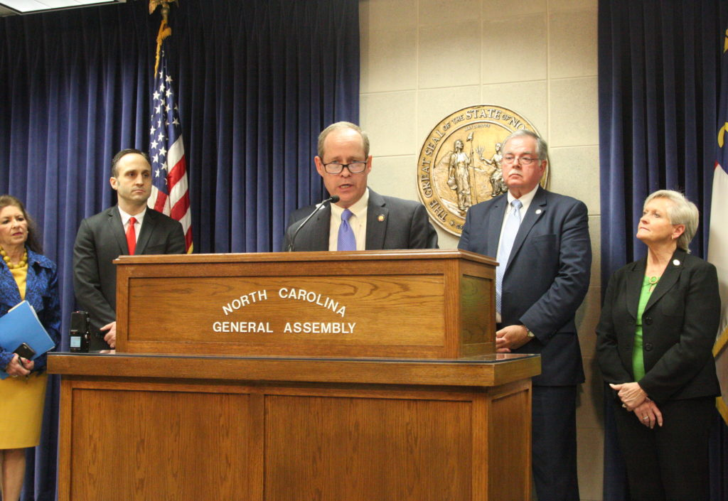 Rep. Greg Murphy, R-Pitt, introduces the Carolina Cares legislation at a Tuesday press conference. He is flanked at the podium by (from left) Reps. Donna White, R-Johnston, Josh Dobson, R-McDowell, Donny Lambeth, R-Forsyth, and Gale Adcock, D-Wake. (CJ photo by Dan Way)