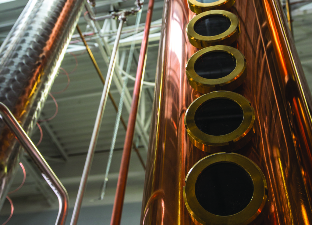 A continuous column still at Top of the Hill Distillery in Chapel Hill. (Photo courtesy of Top of the Hill Distillery)