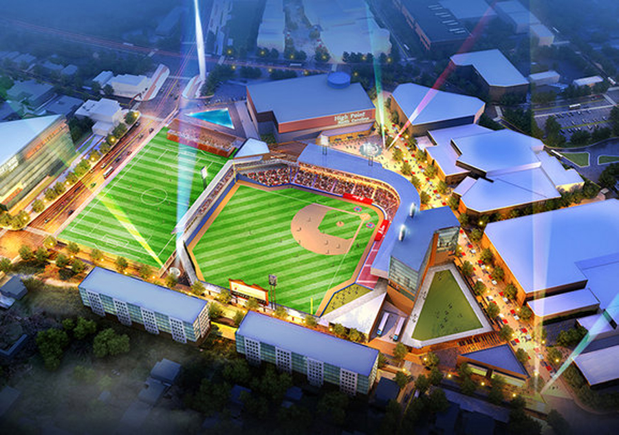 Artist rendering of the proposed High Point stadium complex. (Image from Odell Associates)