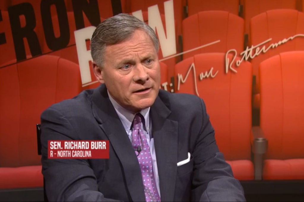 "Sen. Richard Burr, R-N.C., on ""Front Row with Marc Rotterman."" (Image from UNC-TV)"