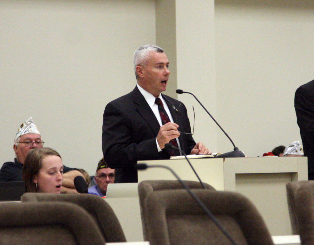Havelock City Manager Frank Bottorff, a former military aviator, opposes a bill to establish guidelines for building industrial-scale windmills near military installations during an April 26 meeting of the House Energy and Public Utilities Committee. (CJ photo by Dan Way)