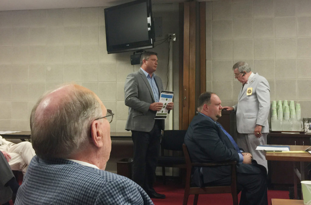 Scott Maitland of Top of the Hill Distillery in Chapel Hill and president of the N.C. Distillers Association, speaks on behalf of Senate Bill 155 Thursday at the Senate Rules Committee. (CJ photo by Rick Henderson)