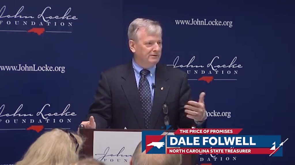 State Treasurer Dale Folwell, speaking at the John Locke Foundation.