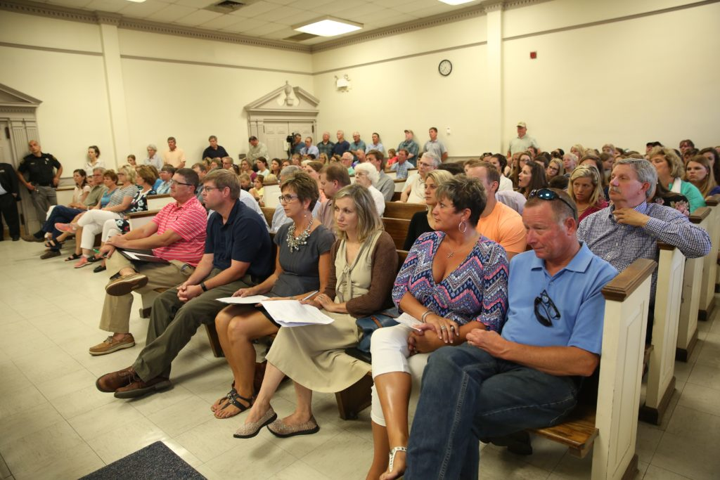 Residents of the community near the Terra Ceia Christian School pack the Beaufort County Courthouse in May to voice opposition to a proposed solar farm near the school. (CJ photo by Don Carrington)