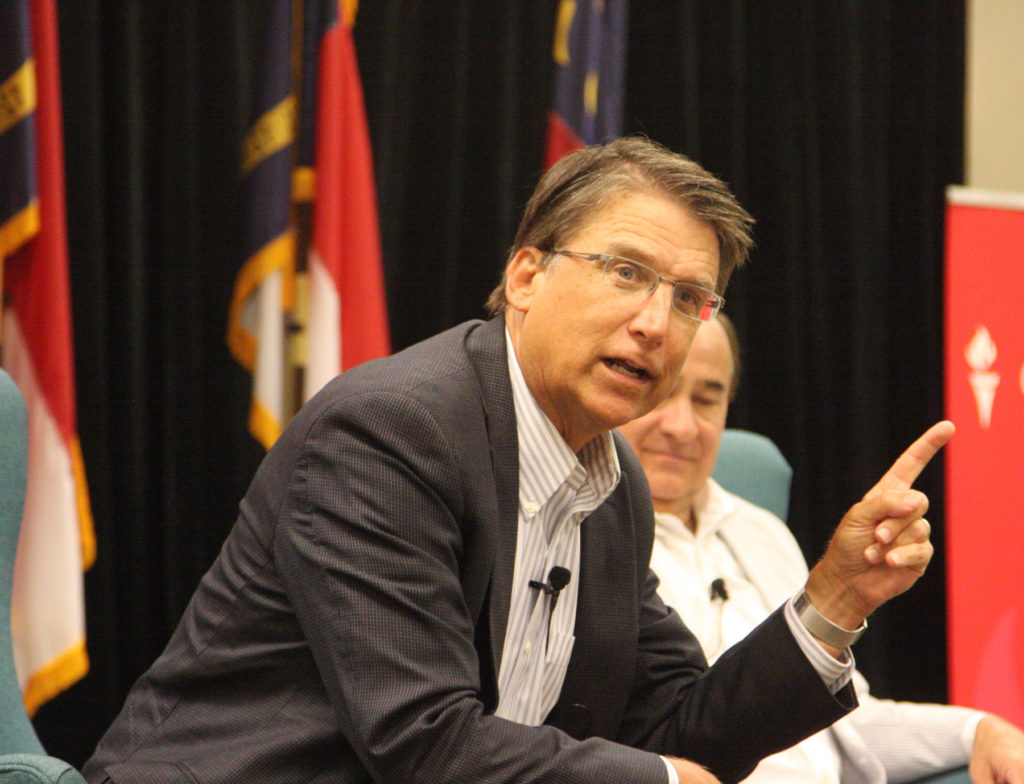 Former Gov. Pat McCrory sounded a lot like a candidate when he spoke Saturday to Carolina Journal and to the Conservative Leadership Conference in Raleigh. (CJ photo by Dan Way)