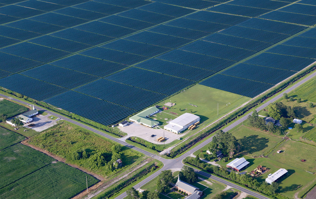 An artist rendering of solar panels overlaying a CJ aerial photograph of the Respess property surrounding the Terra Ceia Christian School. (CJ graphic)