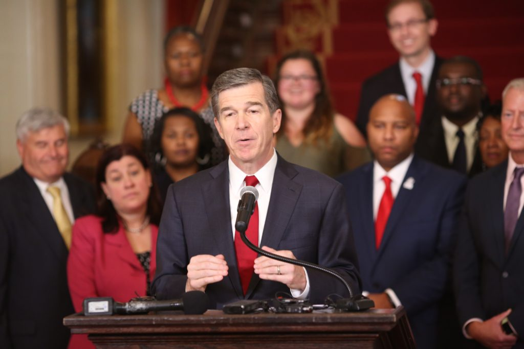Gov. Roy Cooper, at a June news conference at the Executive Mansion. (CJ photo by Don Carrington)