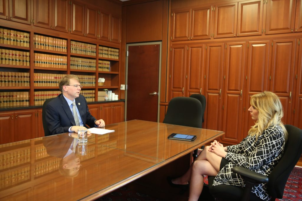 N.C. Chief Justice Mark Martin speaks with CJ Associate Editor Kari Travis in July 2017 at his Raleigh office. (CJ photo by Don Carrington)