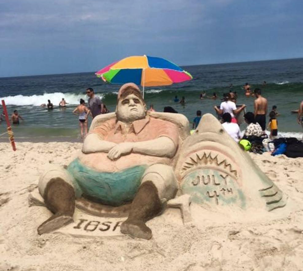 This sand sculpture at Seaside Heights Beach, N.J., was modeled after an aerial photograph of New Jersey Gov. Chris Christie, taken over July 4 weekend at Island Beach State Park. (Photo from Twitter account of Jarret DiGiantomasso/NJ.com)