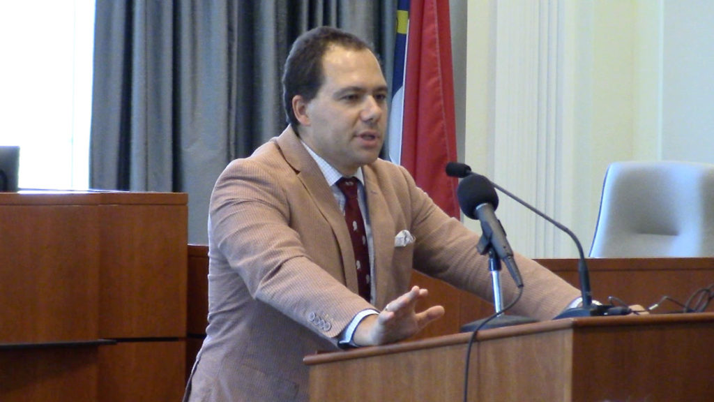 Ilya Shapiro, senior fellow in constitutional studies at the Cato Institute, shown here addressing the Triangle Lawyers Chapter of the Federalist Society. (CJ file photo)