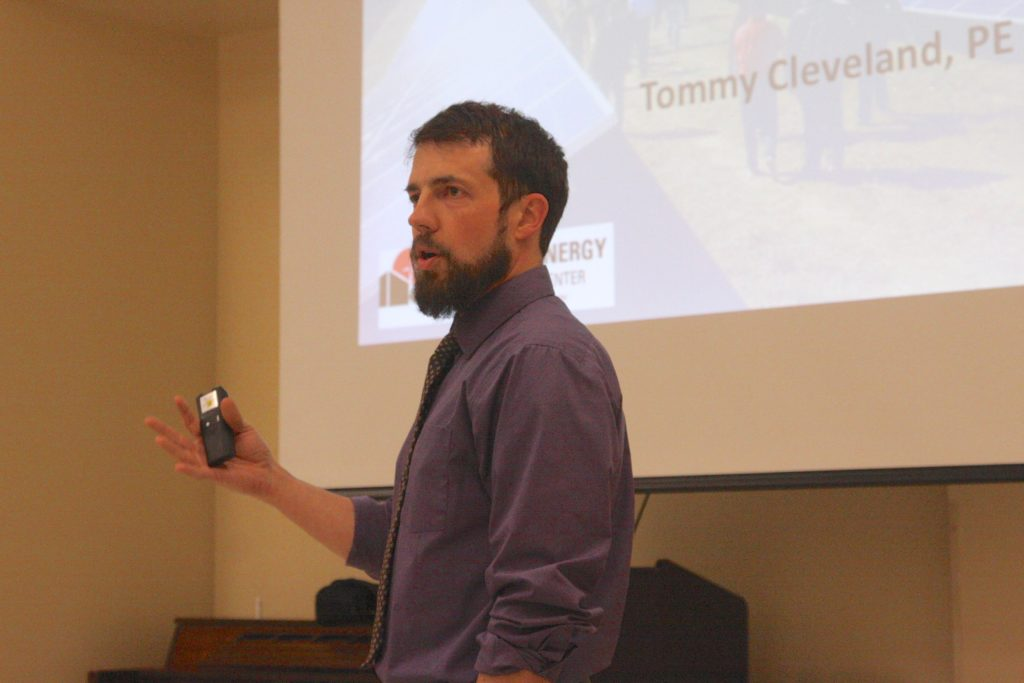 Tommy Cleveland, an official with the North Carolina Clean Energy Technology Center, gives a presentation March 23 at the Moore County Cooperative Extension office. (CJ photo by Dan Way)