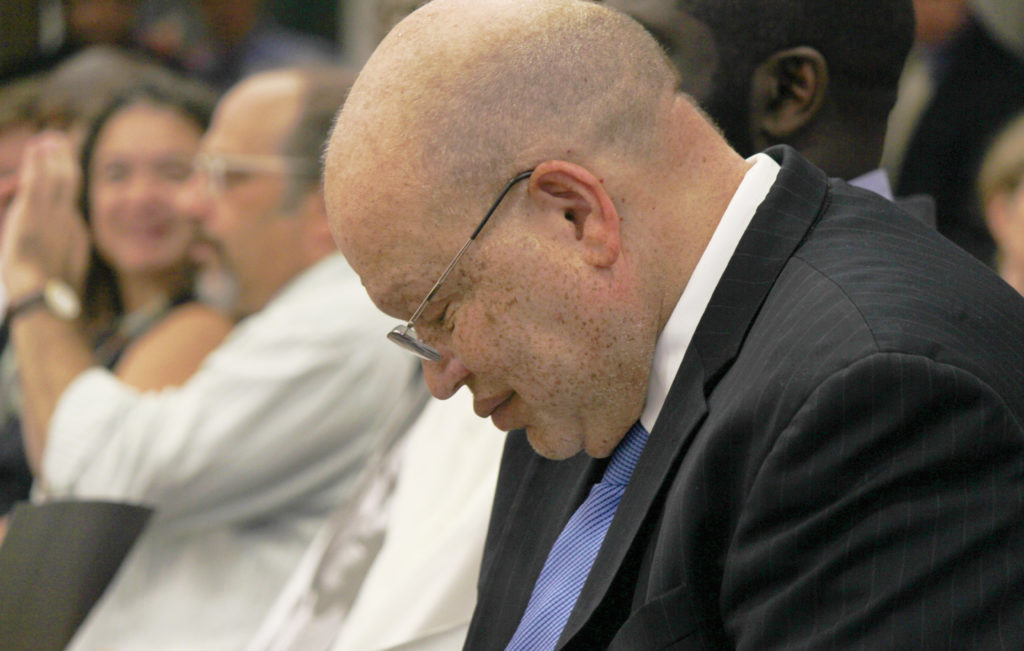 UNC Center for Civil Rights Executive Director Ted Shaw listens to comments during an Aug. 1 UNC Board of Governors Committee. (CJ Photo by Kari Travis)