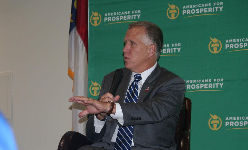 U.S. Sen. Thom Tillis, R-N.C., speaks at a November 2015 meeting hosted by Americans for Prosperity. (CJ file photo)