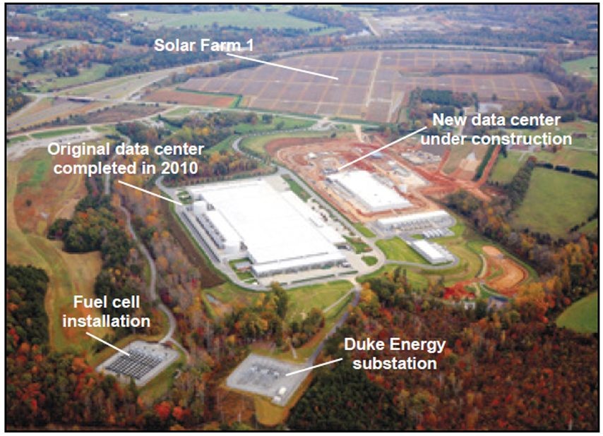 The Carolina Journal graphic from 2015 shows the Apple data center near Maiden. The fuel cells, or 'bloom boxes,' are in the lower left-hand corner of the image.