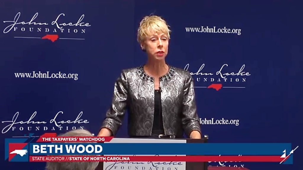 State Auditor Beth Wood, speaking at the John Locke Foundation in 2017.