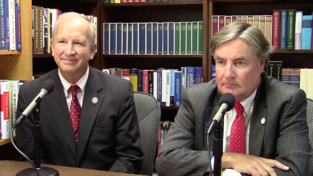 N.C. Supreme Court Justices Paul Newby (left) and Sam Ervin IV, who faced each other in a hotly contested 2012 election, work together today. Newby and Ervin promoted civics education during a 2016 interview for CarolinaJournal.com. (CJ staff photo)