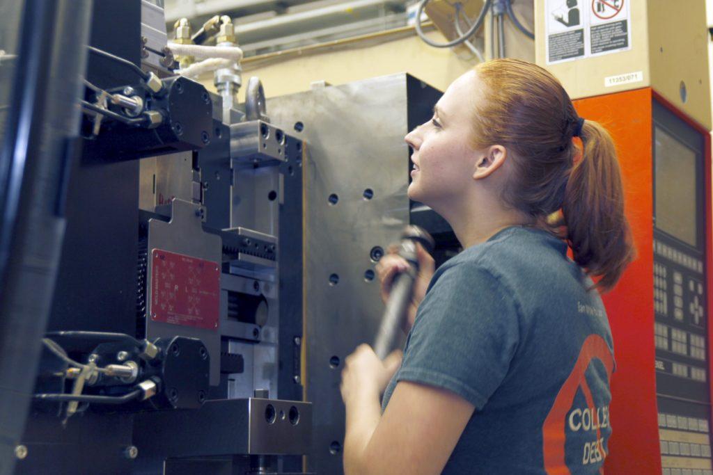 Nadya Murdasova, a 4th year apprentice at Blum, works as a process technician. (Photo courtesy of Blum, Inc.)