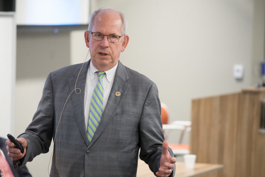 Judge Julius Corpening, chief district court judge for North Carolina's 5th Judicial District, speaks about opioid addiction Oct. 2 at the Wake Forest University School of Medicine. (Photo courtesy of Wake Forest University)