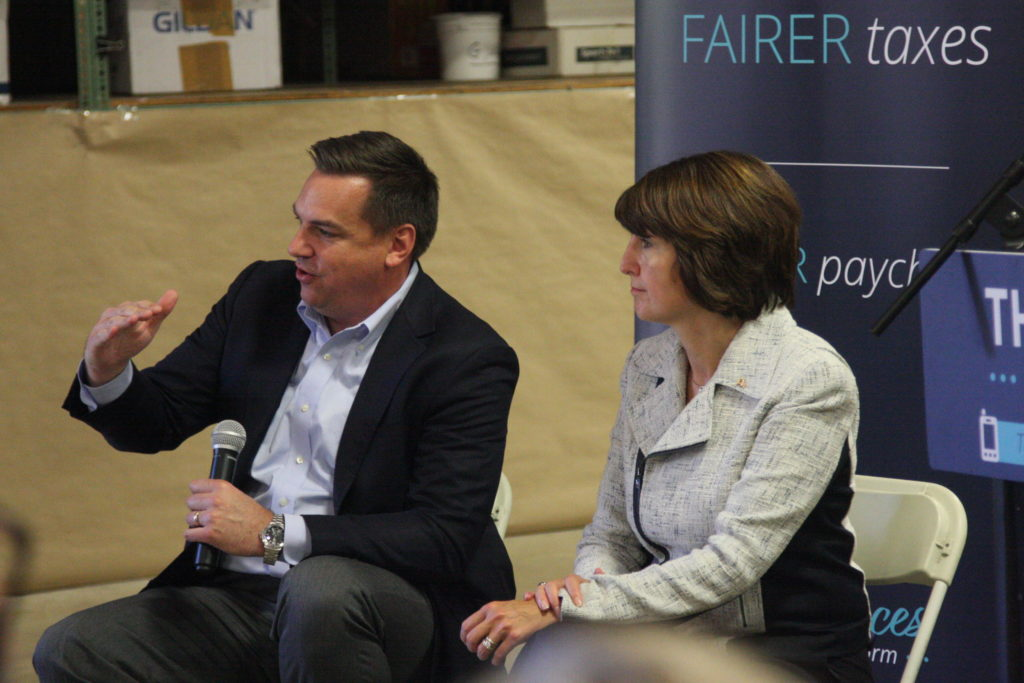 U.S. Reps. Richard Hudson, R-8th District, and Cathy McMorris-Rodgers, R-Washington, discuss tax reform plans at an October event in Hope Mills. (CJ photo by Dan Way)