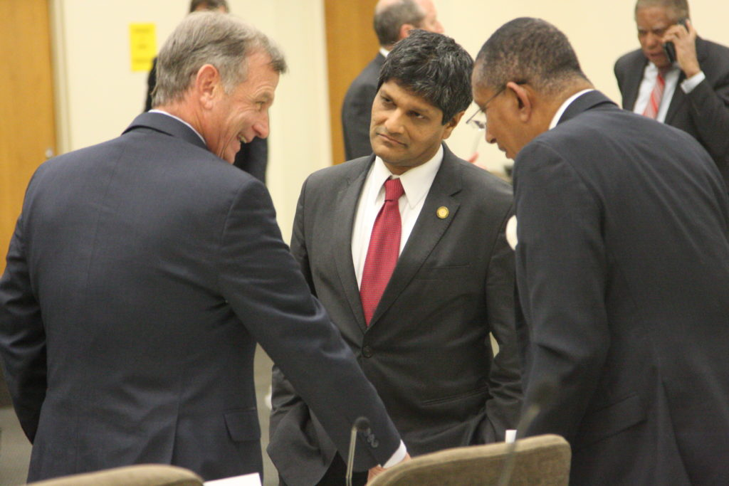 From left, Sens. Bill Rabon, R-Brunswick, Jay Chaudhuri, D-Wake, and Floyd McKissick, D-Durham, during a January 2018 committee meeting. (CJ photo by Dan Way)