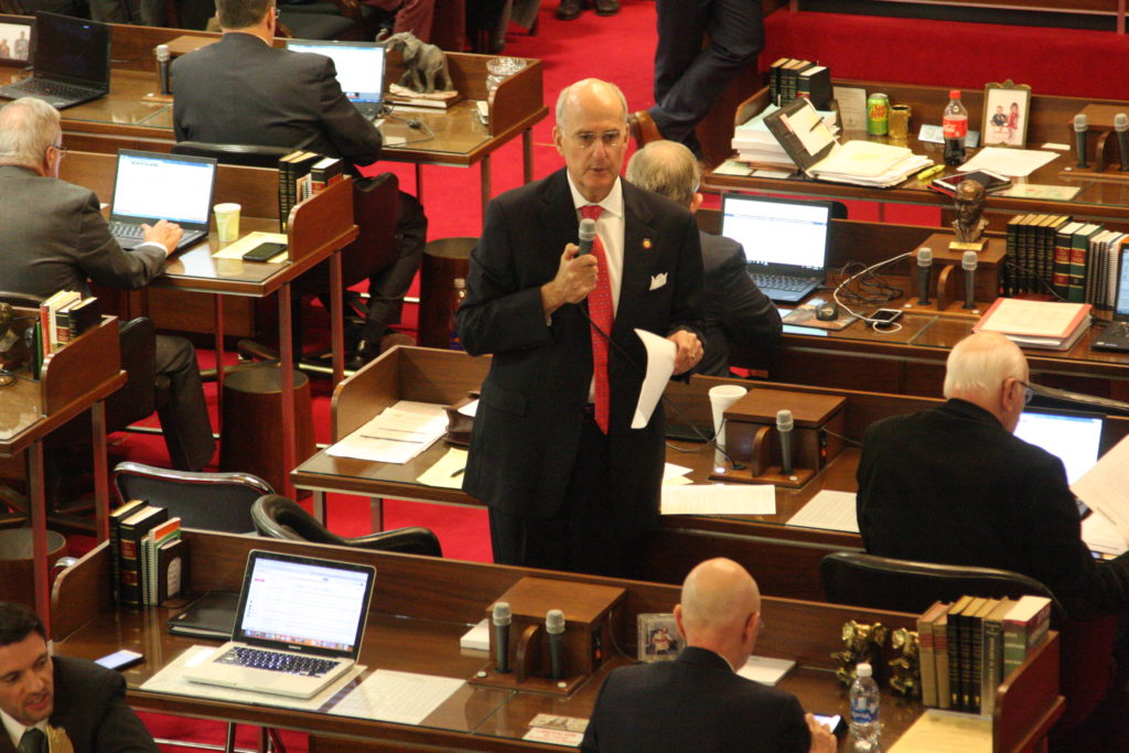 Rep. Ted Davis, R-New Hanover, leads House floor debate Wednesday on House Bill 189. (CJ photo by Dan Way)