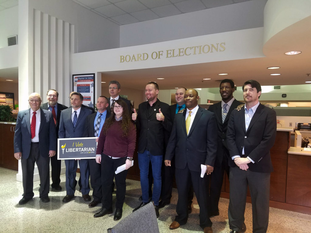 Wake County Libertarian Party candidates for seats in the N.C. General Assembly filed as a group Tuesday, Feb. 13, at the Wake County Board of Elections. (CJ photo by Lindsay Marchello)
