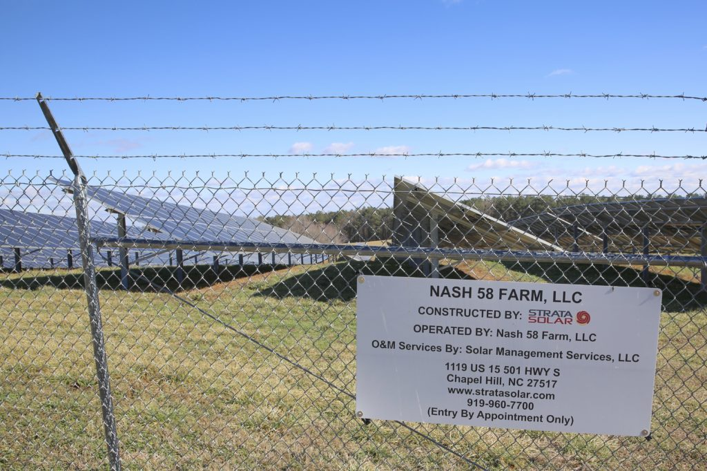 A ground-level photo of the land housing a solar farm from which Gov. Roy Cooper and his brother, Judge Pell Cooper, received lease payments for most of 2013 and 2014. (CJ photo by Don Carrington)